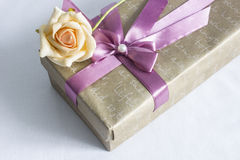 El rectángulo de regalo con se levantó fotos de archivo libres de regalías