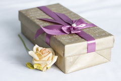 El rectángulo de regalo con se levantó fotografía de archivo libre de regalías