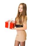 El rectángulo de regalo rojo grande. Foto de archivo libre de regalías