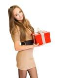 El rectángulo de regalo rojo grande. Imagen de archivo libre de regalías