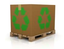 El rectángulo del cartón con recicla símbolo Imagen de archivo libre de regalías