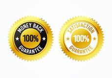 El reembolso del dinero 100% y la satisfacción garantizada de oro del ejemplo del vector etiquetan la medalla ilustración del vector
