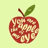 El refrán - usted es la manzana de mi ojo - escrito en sha de la manzana Imágenes de archivo libres de regalías