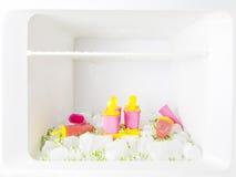El refrigerador con helado, los bloques de hielo y los guisantes congelados Fotografía de archivo libre de regalías