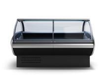 El refrigerador 3d de la exhibición de la comida rinde en pendiente stock de ilustración