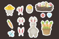 El regalo de las etiquetas engomadas de Pascua marca etiquetas del vector con etiqueta con los saludos lindos con el conejito, po Imagen de archivo