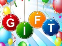 El regalo de los niños muestra la caja y la ocasión de la niñez Imagen de archivo