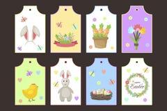 El regalo de Pascua marca etiquetas del vector con etiqueta con saludos lindos de la primavera de los personajes de dibujos anima ilustración del vector