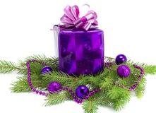 El regalo del Año Nuevo en una ramificación Imagen de archivo