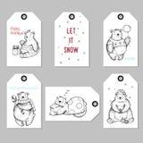 El regalo lindo de la Navidad de la colección y del Año Nuevo marca con etiqueta Osos dibujados mano creativa por vacaciones de i Imagen de archivo libre de regalías
