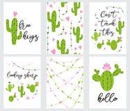 El regalo listo para utilizar lindo determinado marca con etiqueta con la colección imprimible del cactus de mano dibujada en col Imagen de archivo libre de regalías