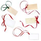 El regalo marca la colección con etiqueta aislada en blanco Fotografía de archivo