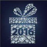 El regalo presente con 2016 compuso muchos diamantes ilustración del vector