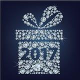 El regalo presente con 2017 compuso muchos diamantes ilustración del vector