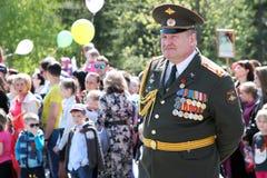 El regimiento inmortal de la acción en desfile de la victoria Foto de archivo