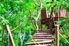 el registro de madera y del puente de la choza fue construido en el bosque para la actividad de la aventura del explorador imagenes de archivo
