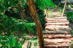 el registro de madera y del puente de la choza fue construido en el bosque para la actividad de la aventura del explorador fotos de archivo libres de regalías
