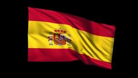 El reino de colocación inconsútil de la bandera de España que agita en viento de t Republiche, canal alfa es incluido almacen de metraje de vídeo