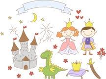El reino dibujado mano fijó con la bandera del príncipe, de la princesa, del dragón, del castillo y de la cinta Foto de archivo