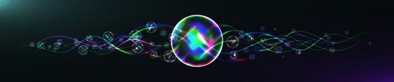 El relámpago de la energía con la explosión y muchos brillan partículas Fotografía de archivo