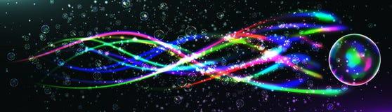 El relámpago de la energía con la explosión y muchos brillan partículas Imágenes de archivo libres de regalías