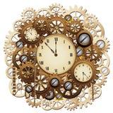 El reloj de Steampunk adapta arte gráfico retro de vector del mecanismo del vintage stock de ilustración