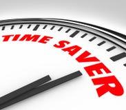 El reloj del ahorrador de tiempo redacta consejo productivo eficiente del trabajo Imágenes de archivo libres de regalías