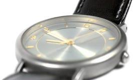El reloj del reloj de la cara de los hombres de lujo hechos suizo de la caja del zafiro del estilo clásico gris de cristal plano  Fotografía de archivo libre de regalías