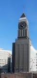El reloj en el edificio del Krasnoyarsk Fotografía de archivo libre de regalías