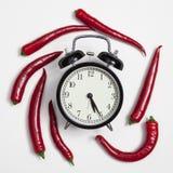El reloj en un marco de la pimienta de chile rojo - tarjeta para las recetas En el fondo blanco Fotografía de archivo libre de regalías