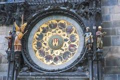 El reloj famoso en Praga Fotografía de archivo