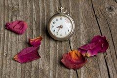 El reloj viejo con los pétalos de se levantó Imágenes de archivo libres de regalías