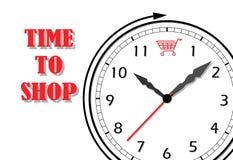 El reloj y el evento de las compras vector al ilustrador aislado en el fondo blanco y lanzan la máscara del recortes para la imag ilustración del vector