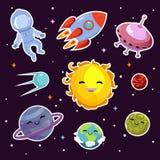 El remiendo de la moda del vector de espacio badges con los planetas, las estrellas y las naves espaciales extranjeras libre illustration