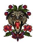 El remiendo de la pantera, de la mariposa y del bordado de las flores para la materia textil diseña libre illustration