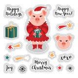 El remiendo del vector fijó - la Navidad y la Feliz Año Nuevo 2019 El cerdo lindo, regalo, copos de nieve, fuegos artificiales, p libre illustration