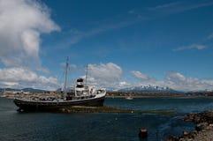 El Remolcador Christofer. The El remolcador Christofer is an old tug boat stranded near Ushuaia`s harbour Stock Photo