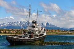 El Remolcador Christofer. The El remolcador Christofer is an old tug boat stranded near Ushuaia`s harbour Royalty Free Stock Photography