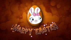 El remolque feliz 25 FPS del título de la animación de Pascua burbujea de oro ilustración del vector
