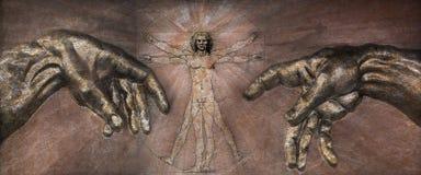 El renacimiento - hombre de Vitruvian y creación de Adán