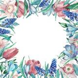 El resorte florece el marco Pascua y decoración del día de madre Ilustración de la acuarela ilustración del vector