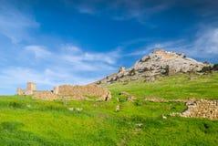 El resorte viene a la fortaleza Genoese en la ciudad de Sudak. Fotos de archivo