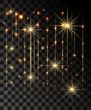 El resplandor aisló efecto transparente del oro, la llamarada de la lente, la explosión, el brillo, la línea, el flash del sol, l foto de archivo