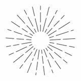 El resplandor solar del vintage en las líneas forma, parte radial linear estalló el sol retro para la cría del inconformista libre illustration