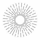 El resplandor solar del vintage en las líneas forma, parte radial linear estalló el sol retro para la cría del inconformista ilustración del vector