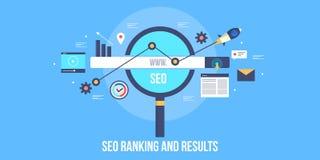 El resultado de la graduación del Search Engine - SERP - impulse el concepto de la optimización del negocio en línea - SEO Bander ilustración del vector