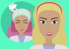 El resultado de los procedimientos cosméticos de la inyección de Botox arruga en la frente El cliente del ` s del cosmetólogo en  libre illustration