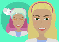 El resultado de los procedimientos cosméticos de la inyección de Botox arruga en la frente El cliente del ` s del cosmetólogo en  ilustración del vector