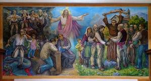 El retablo muestra la fe de la gente albanesa en Jesus Christ Imagen de archivo
