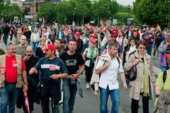 El retiro endereza la demostración, París, Francia Fotos de archivo